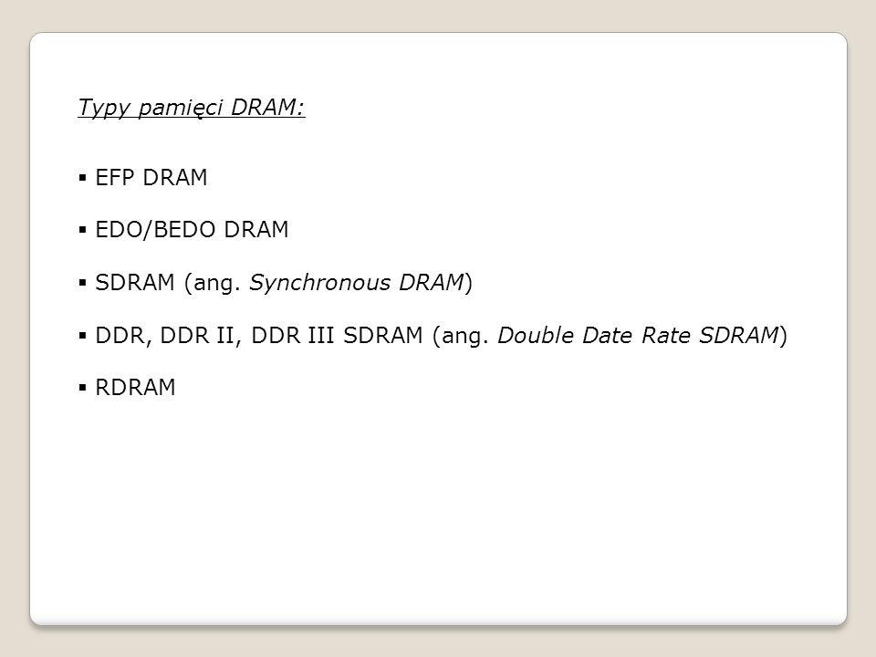 Typy pamięci DRAM: EFP DRAM EDO/BEDO DRAM SDRAM (ang.