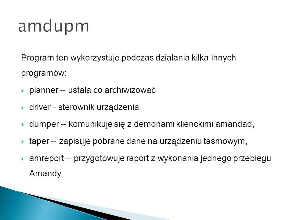 Program ten wykorzystuje podczas działania kilka innych programów: planner -- ustala co archiwizować driver - sterownik urządzenia dumper -- komunikuje się z demonami klienckimi amandad, taper -- zapisuje pobrane dane na urządzeniu taśmowym, amreport -- przygotowuje raport z wykonania jednego przebiegu Amandy.