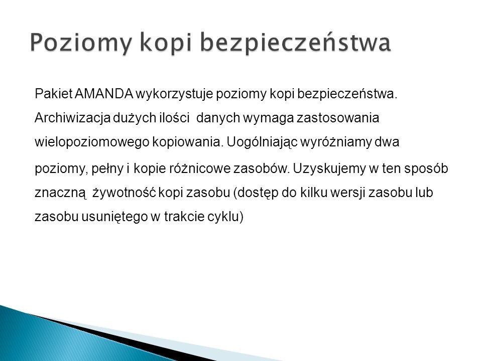 Pakiet AMANDA wykorzystuje poziomy kopi bezpieczeństwa.
