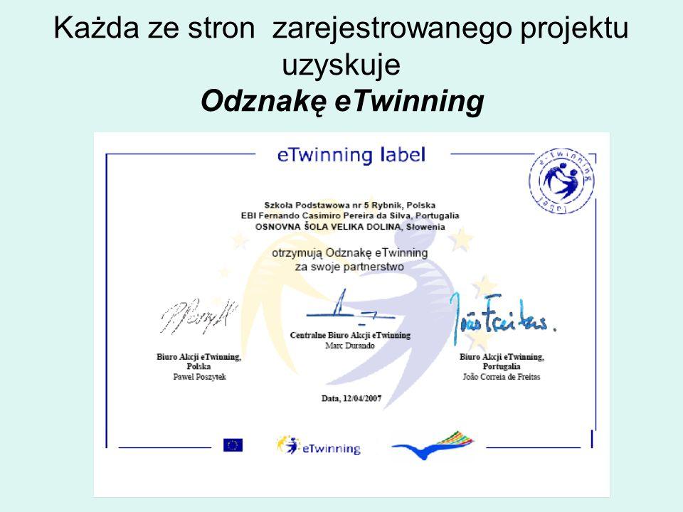 Każda ze stron zarejestrowanego projektu uzyskuje Odznakę eTwinning