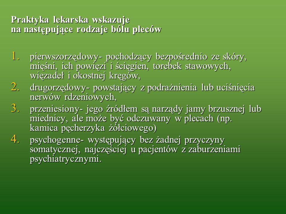 Praktyka lekarska wskazuje na następujące rodzaje bólu pleców 1. pierwszorzędowy- pochodzący bezpośrednio ze skóry, mięśni, ich powięzi i ścięgien, to