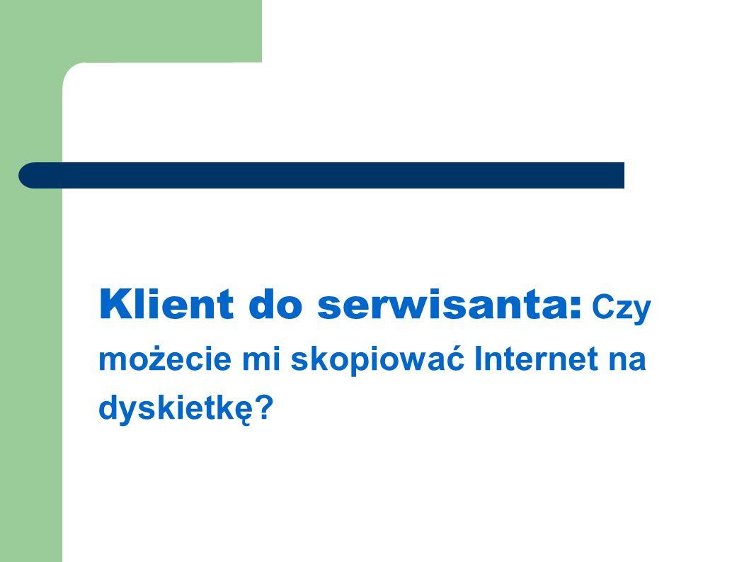 Klient do serwisanta: Czy możecie mi skopiować Internet na dyskietkę
