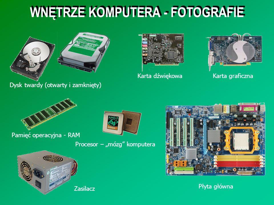 WNĘTRZE KOMPUTERA - FOTOGRAFIE Dysk twardy (otwarty i zamknięty) Płyta główna Karta dźwiękowaKarta graficzna Pamięć operacyjna - RAM Procesor – mózg k