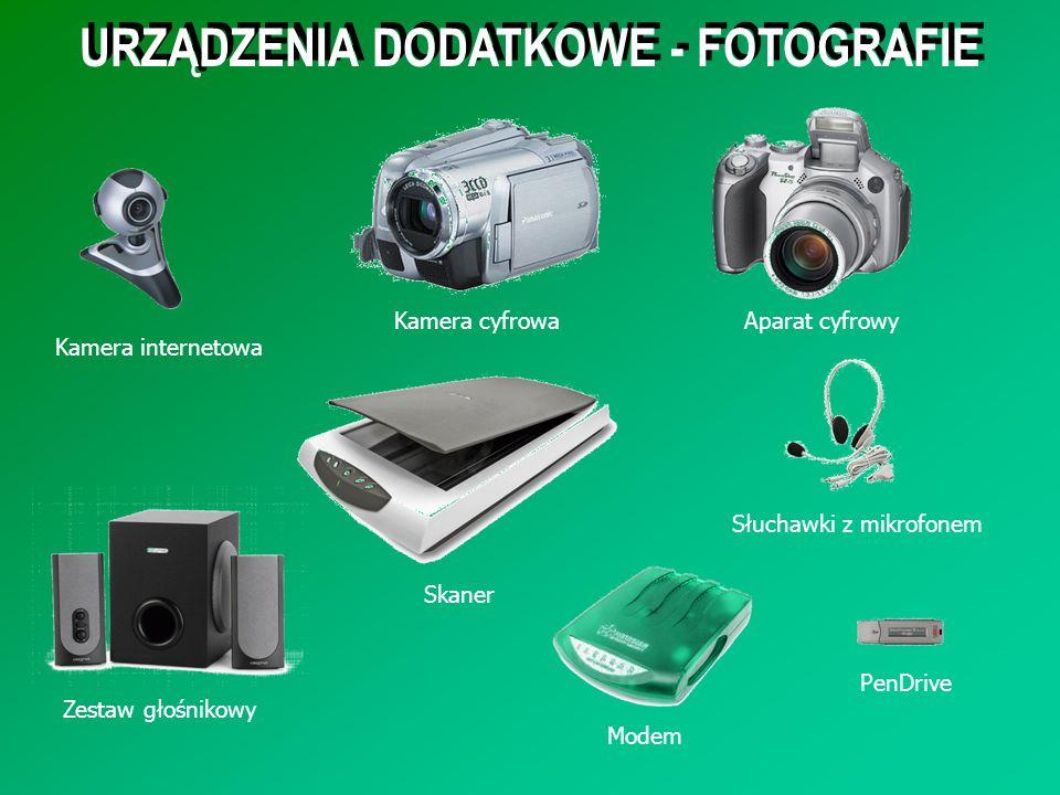 URZĄDZENIA DODATKOWE - FOTOGRAFIE Kamera internetowa Kamera cyfrowaAparat cyfrowy Słuchawki z mikrofonem Zestaw głośnikowy Modem PenDrive Skaner