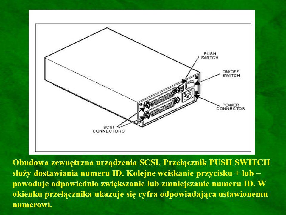 Obudowa zewnętrzna urządzenia SCSI.Przełącznik PUSH SWITCH służy dostawiania numeru ID.