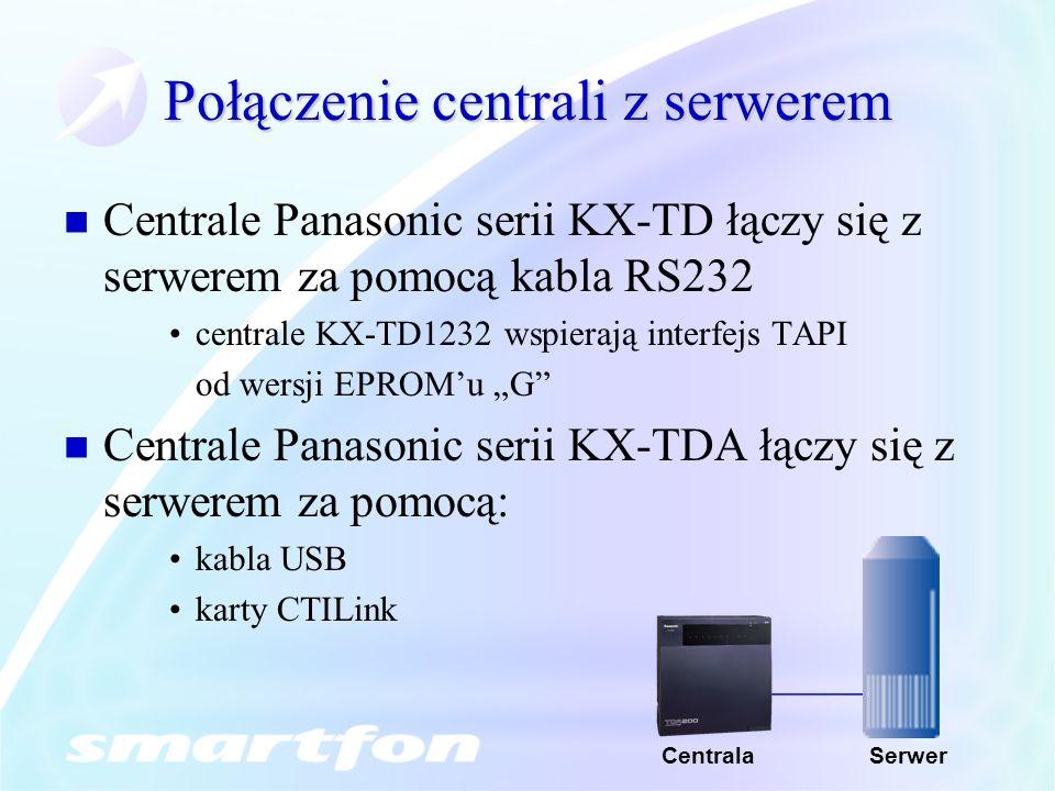Połączenie centrali z serwerem Centrale Panasonic serii KX-TD łączy się z serwerem za pomocą kabla RS232 centrale KX-TD1232 wspierają interfejs TAPI od wersji EPROMu G Centrale Panasonic serii KX-TDA łączy się z serwerem za pomocą: kabla USB karty CTILink SerwerCentrala