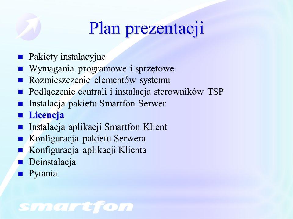 Plan prezentacji Pakiety instalacyjne Wymagania programowe i sprzętowe Rozmieszczenie elementów systemu Podłączenie centrali i instalacja sterowników TSP Instalacja pakietu Smartfon Serwer Licencja Licencja Instalacja aplikacji Smartfon Klient Konfiguracja pakietu Serwera Konfiguracja aplikacji Klienta Deinstalacja Pytania