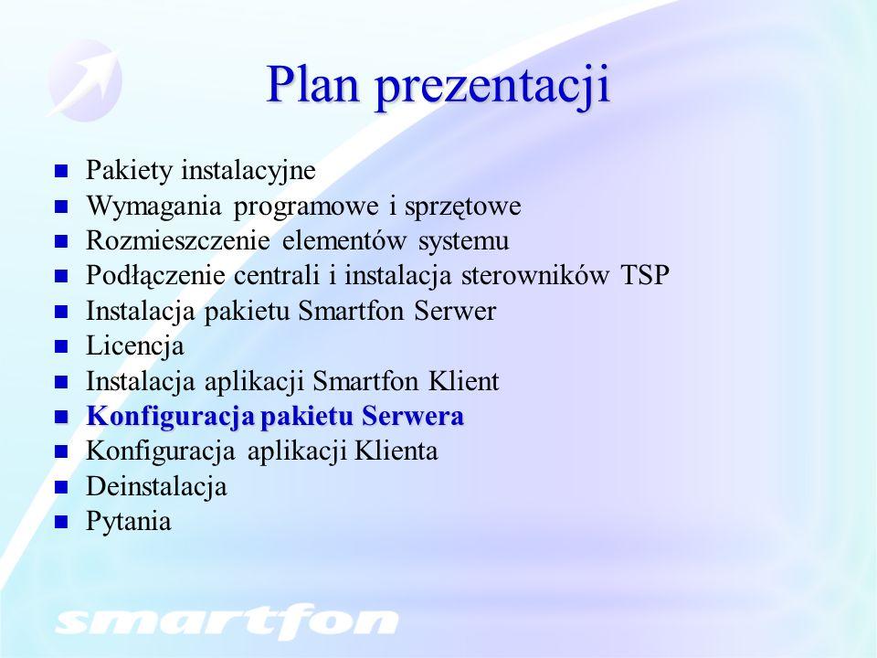 Plan prezentacji Pakiety instalacyjne Wymagania programowe i sprzętowe Rozmieszczenie elementów systemu Podłączenie centrali i instalacja sterowników TSP Instalacja pakietu Smartfon Serwer Licencja Instalacja aplikacji Smartfon Klient Konfiguracja pakietu Serwera Konfiguracja pakietu Serwera Konfiguracja aplikacji Klienta Deinstalacja Pytania