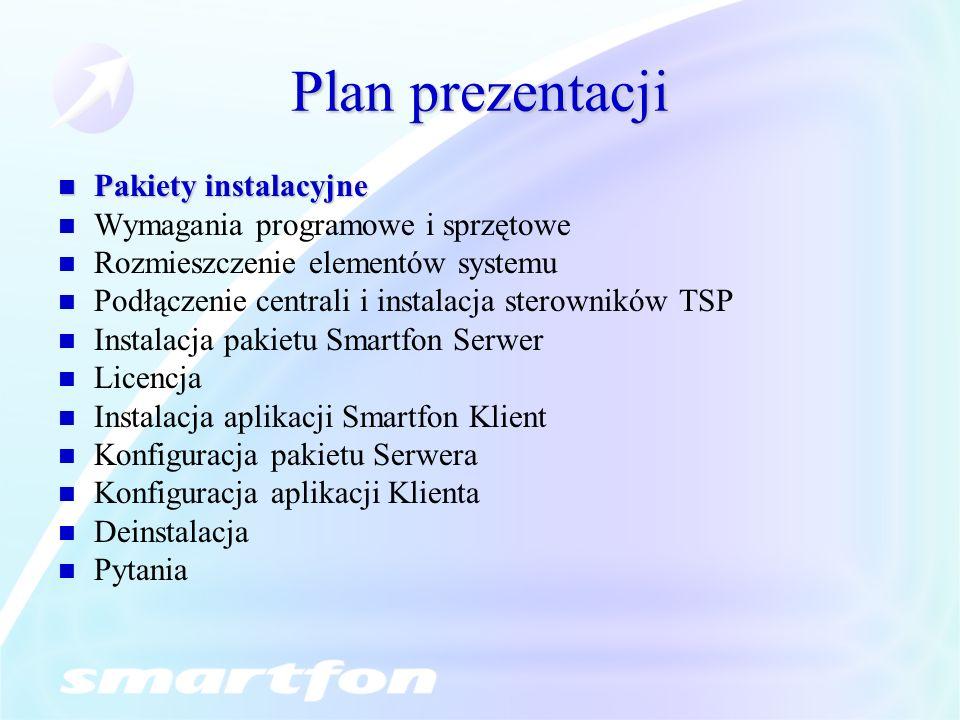 Plan prezentacji Pakiety instalacyjne Pakiety instalacyjne Wymagania programowe i sprzętowe Rozmieszczenie elementów systemu Podłączenie centrali i instalacja sterowników TSP Instalacja pakietu Smartfon Serwer Licencja Instalacja aplikacji Smartfon Klient Konfiguracja pakietu Serwera Konfiguracja aplikacji Klienta Deinstalacja Pytania