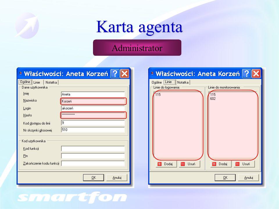 Karta agenta Administrator