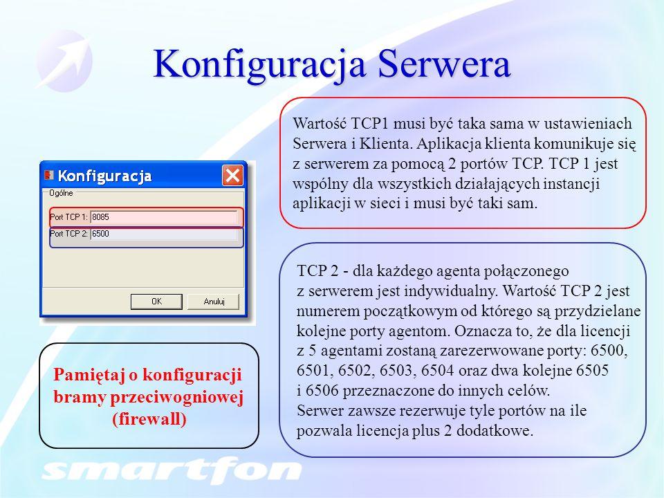 Konfiguracja Serwera Wartość TCP1 musi być taka sama w ustawieniach Serwera i Klienta.
