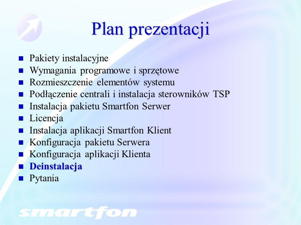 Plan prezentacji Pakiety instalacyjne Wymagania programowe i sprzętowe Rozmieszczenie elementów systemu Podłączenie centrali i instalacja sterowników TSP Instalacja pakietu Smartfon Serwer Licencja Instalacja aplikacji Smartfon Klient Konfiguracja pakietu Serwera Konfiguracja aplikacji Klienta Deinstalacja Deinstalacja Pytania