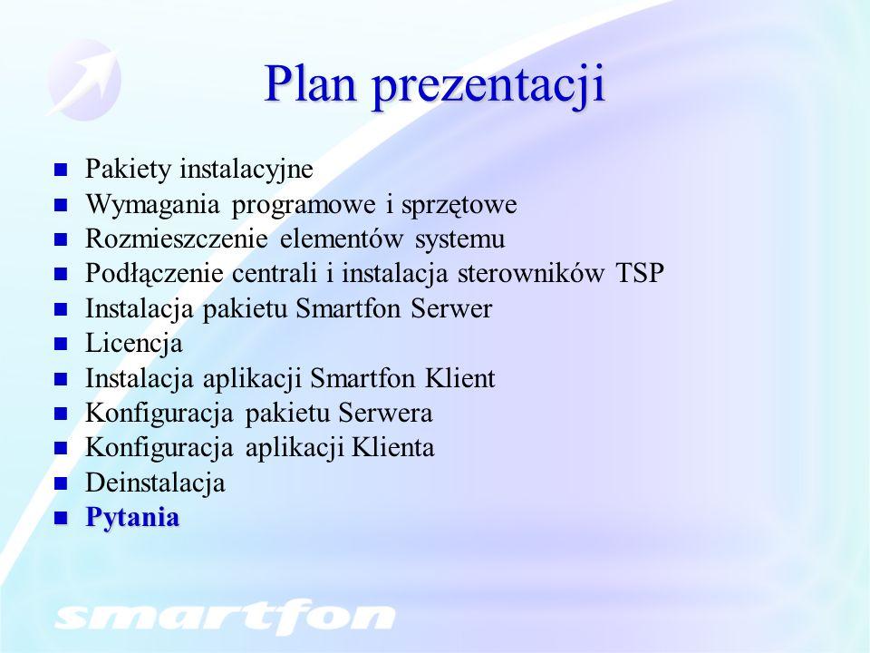Plan prezentacji Pakiety instalacyjne Wymagania programowe i sprzętowe Rozmieszczenie elementów systemu Podłączenie centrali i instalacja sterowników TSP Instalacja pakietu Smartfon Serwer Licencja Instalacja aplikacji Smartfon Klient Konfiguracja pakietu Serwera Konfiguracja aplikacji Klienta Deinstalacja Pytania Pytania