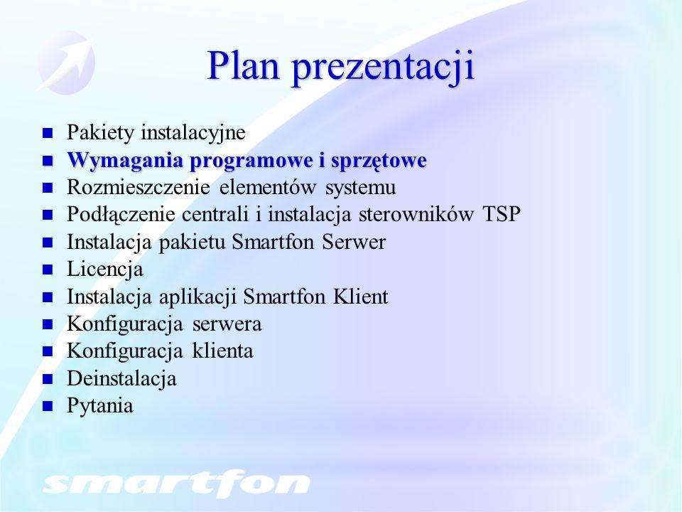 Plan prezentacji Pakiety instalacyjne Wymagania programowe i sprzętowe Wymagania programowe i sprzętowe Rozmieszczenie elementów systemu Podłączenie centrali i instalacja sterowników TSP Instalacja pakietu Smartfon Serwer Licencja Instalacja aplikacji Smartfon Klient Konfiguracja serwera Konfiguracja klienta Deinstalacja Pytania