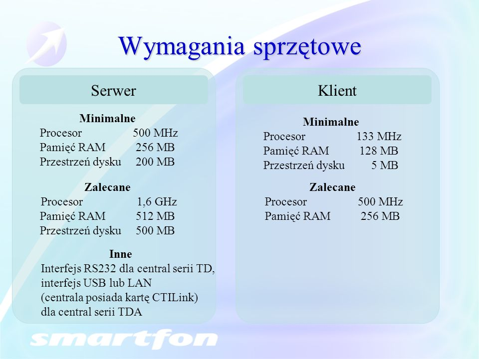 Wymagania sprzętowe Minimalne Procesor500 MHz Pamięć RAM256 MB Przestrzeń dysku200 MB Zalecane Procesor 1,6 GHz Pamięć RAM512 MB Przestrzeń dysku500 MB Minimalne Procesor133 MHz Pamięć RAM128 MB Przestrzeń dysku 5 MB Zalecane Procesor500 MHz Pamięć RAM256 MB Inne Interfejs RS232 dla central serii TD, interfejs USB lub LAN (centrala posiada kartę CTILink) dla central serii TDA SerwerKlient