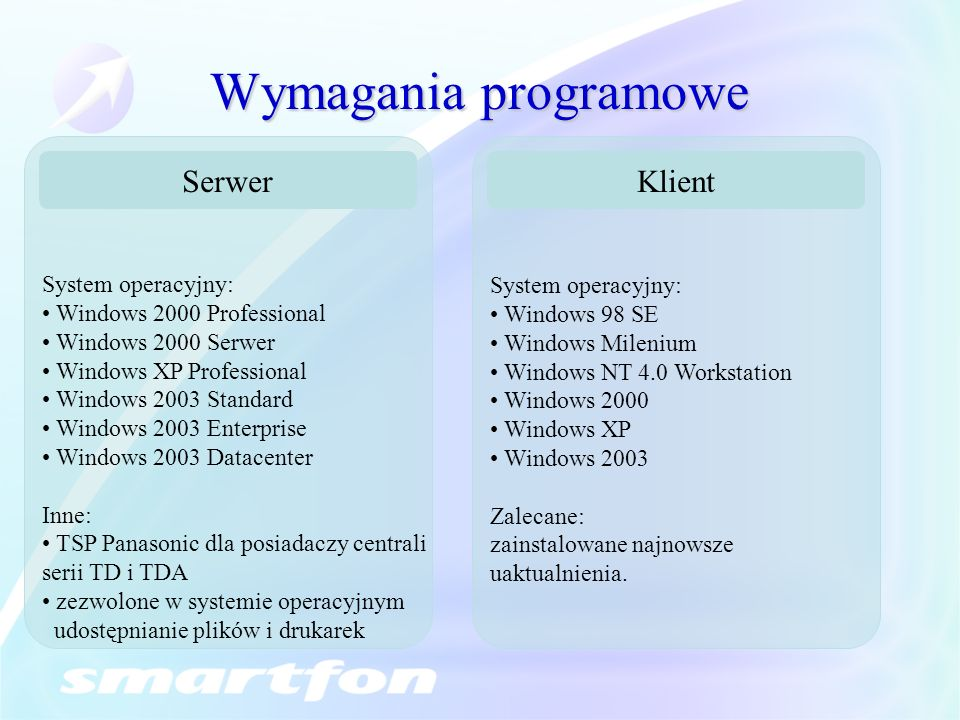 Wymagania programowe Serwer System operacyjny: Windows 2000 Professional Windows 2000 Serwer Windows XP Professional Windows 2003 Standard Windows 200