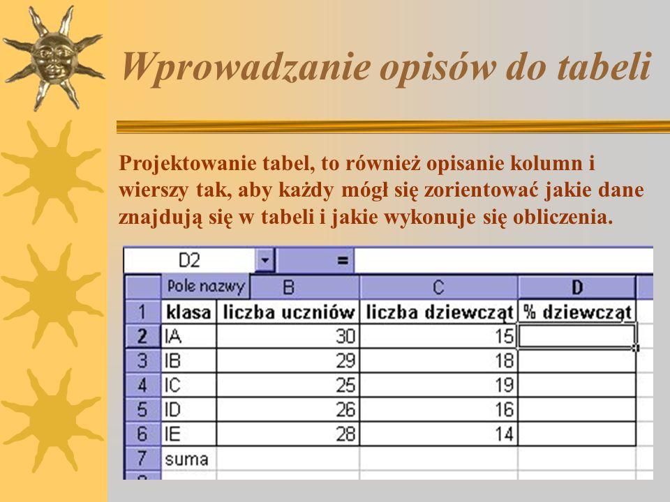 Ćwiczenie 6. Wykonując ćwiczenie 5, zapomniałeś o wpisaniu danych dwóch kolegów. 1.Do tabeli z ćw. 5, przed wiersz, w którym umieszczone są formuły, w