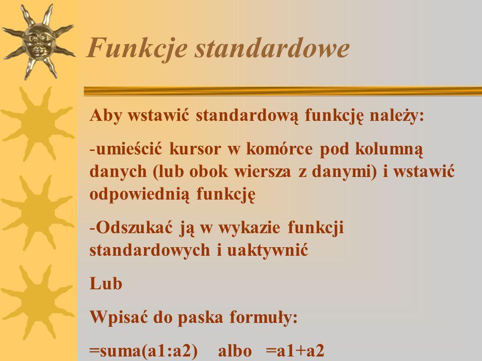 Ćwiczenie 3. Jacek wpisał w różnych wierszach i kolumnach liczby oznaczające kwoty, jakie otrzymywał co tydzień od rodziców i chciałby obliczyć, ile w