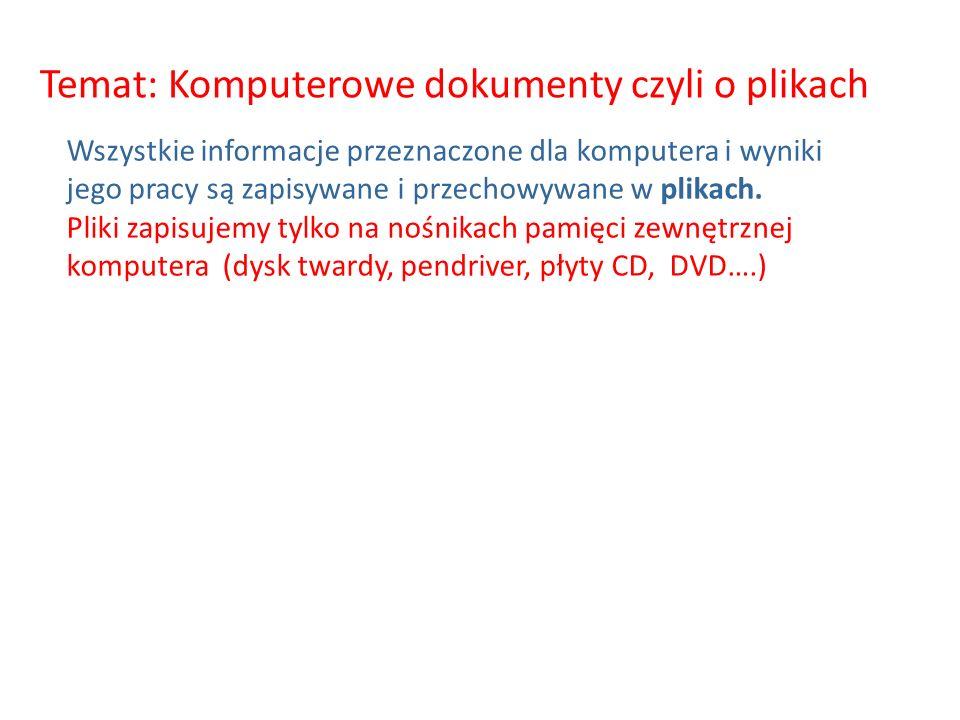 Temat: Komputerowe dokumenty czyli o plikach Wszystkie informacje przeznaczone dla komputera i wyniki jego pracy są zapisywane i przechowywane w plikach.