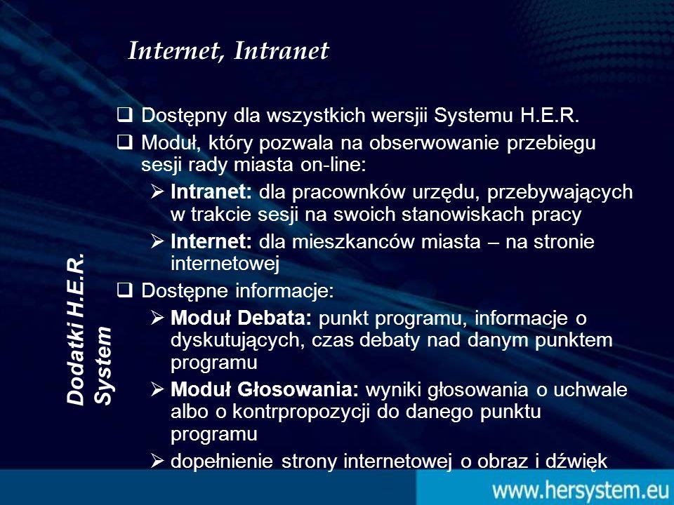 Dodatki H.E.R. System Internet, Intranet Dostępny dla wszystkich wersjii Systemu H.E.R.