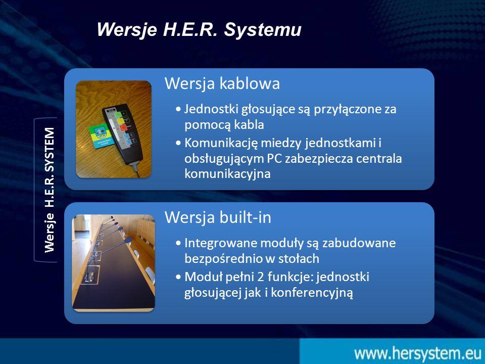 Wersja kablowa Jednostki głosujące są przyłączone za pomocą kabla Komunikację miedzy jednostkami i obsługującym PC zabezpiecza centrala komunikacyjna Wersja built-in Integrowane moduły są zabudowane bezpośrednio w stołach Moduł pełni 2 funkcje: jednostki głosującej jak i konferencyjną Wersje H.E.R.