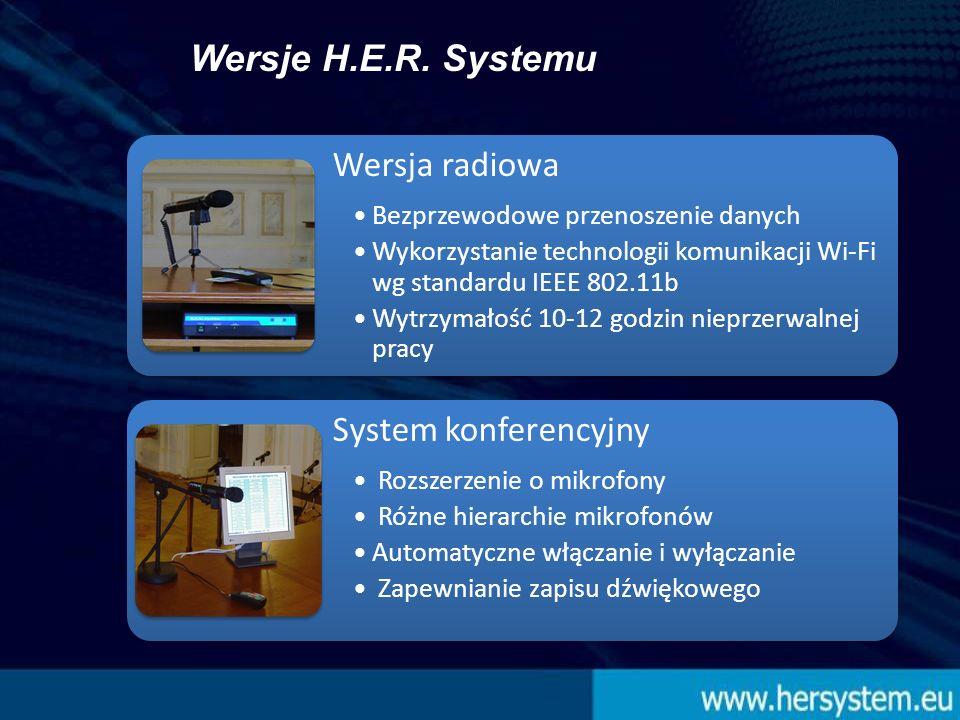 Wersja radiowa Bezprzewodowe przenoszenie danych Wykorzystanie technologii komunikacji Wi-Fi wg standardu IEEE 802.11b Wytrzymałość 10-12 godzin nieprzerwalnej pracy System konferencyjny Rozszerzenie o mikrofony Różne hierarchie mikrofonów Automatyczne włączanie i wyłączanie Zapewnianie zapisu dźwiękowego Wersje H.E.R.