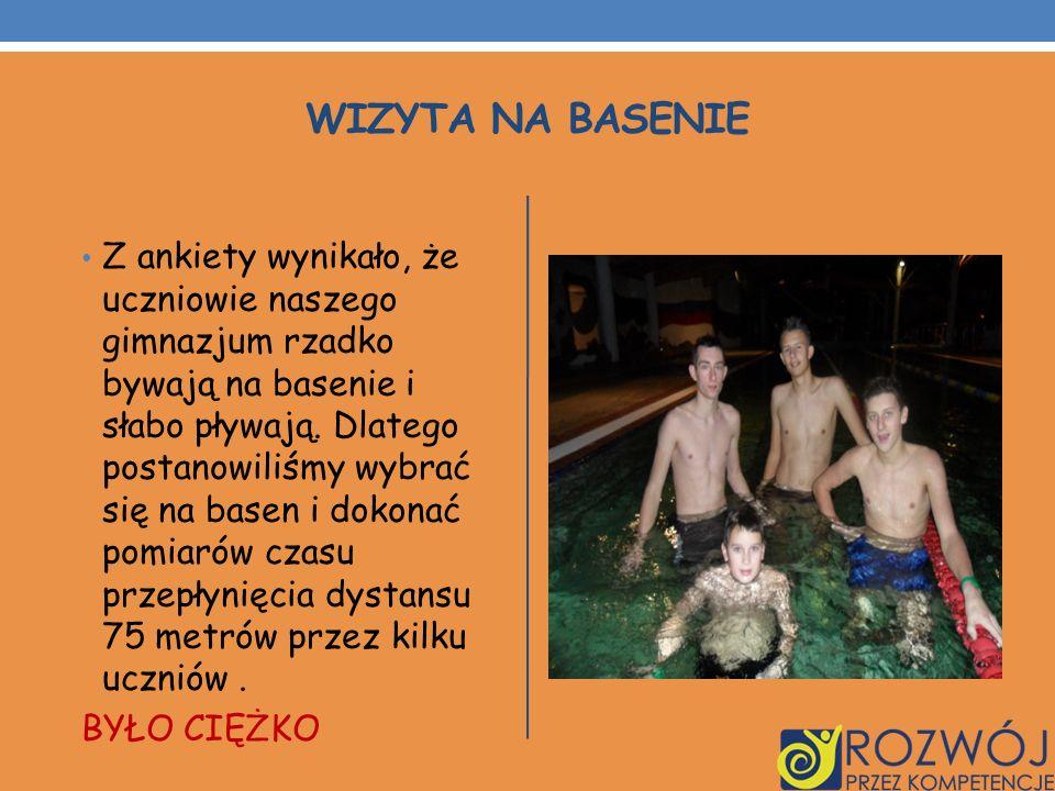 WIZYTA NA BASENIE Z ankiety wynikało, że uczniowie naszego gimnazjum rzadko bywają na basenie i słabo pływają. Dlatego postanowiliśmy wybrać się na ba