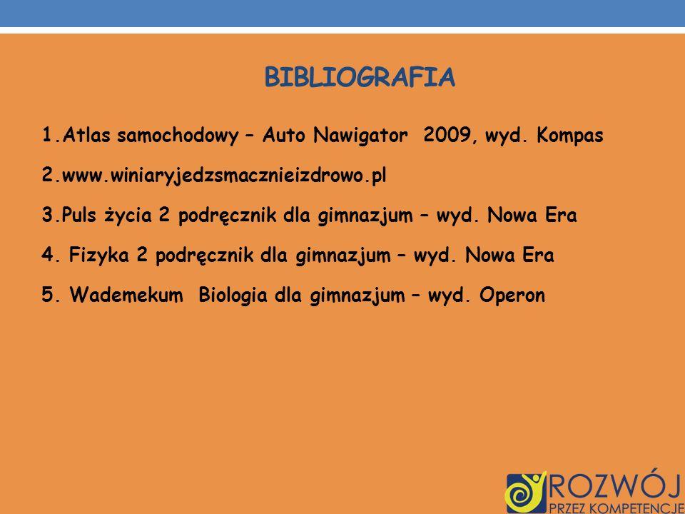 BIBLIOGRAFIA 1.Atlas samochodowy – Auto Nawigator 2009, wyd. Kompas 2.www.winiaryjedzsmacznieizdrowo.pl 3.Puls życia 2 podręcznik dla gimnazjum – wyd.