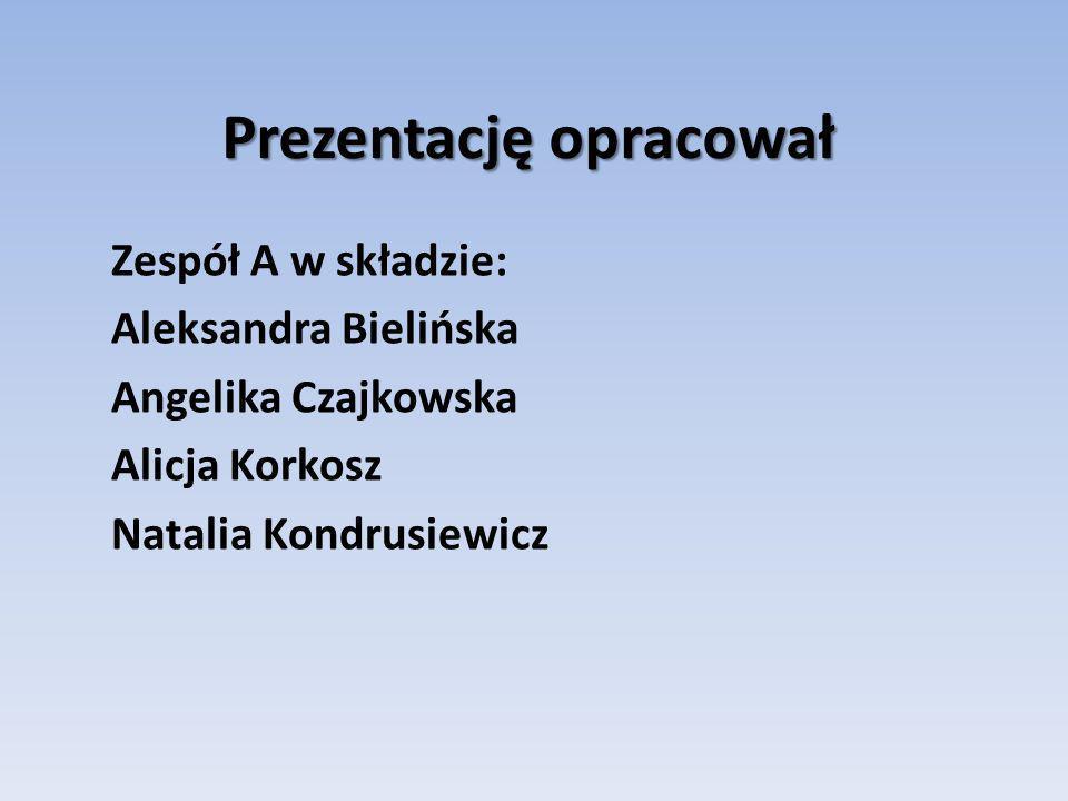 Prezentację opracował Zespół A w składzie: Aleksandra Bielińska Angelika Czajkowska Alicja Korkosz Natalia Kondrusiewicz