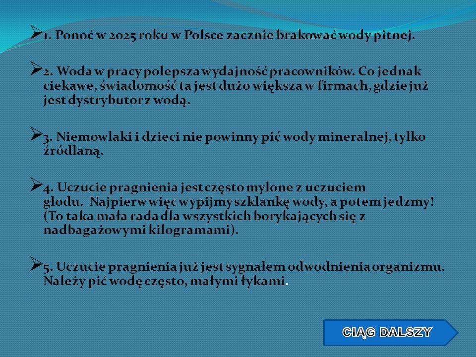 1. Ponoć w 2025 roku w Polsce zacznie brakować wody pitnej. 2. Woda w pracy polepsza wydajność pracowników. Co jednak ciekawe, świadomość ta jest dużo