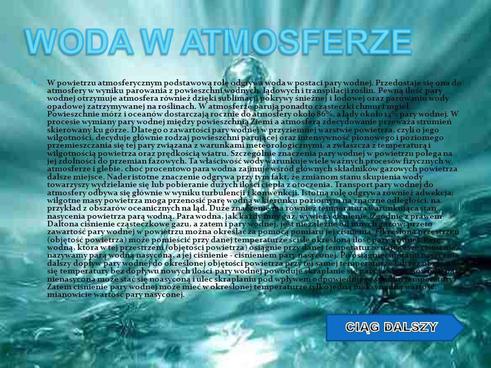 W powietrzu atmosferycznym podstawową rolę odgrywa woda w postaci pary wodnej. Przedostaje się ona do atmosfery w wyniku parowania z powieszchni wodny