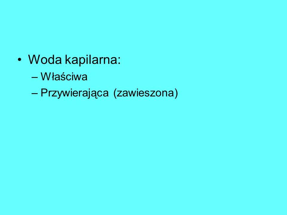 Woda kapilarna: –Właściwa –Przywierająca (zawieszona)