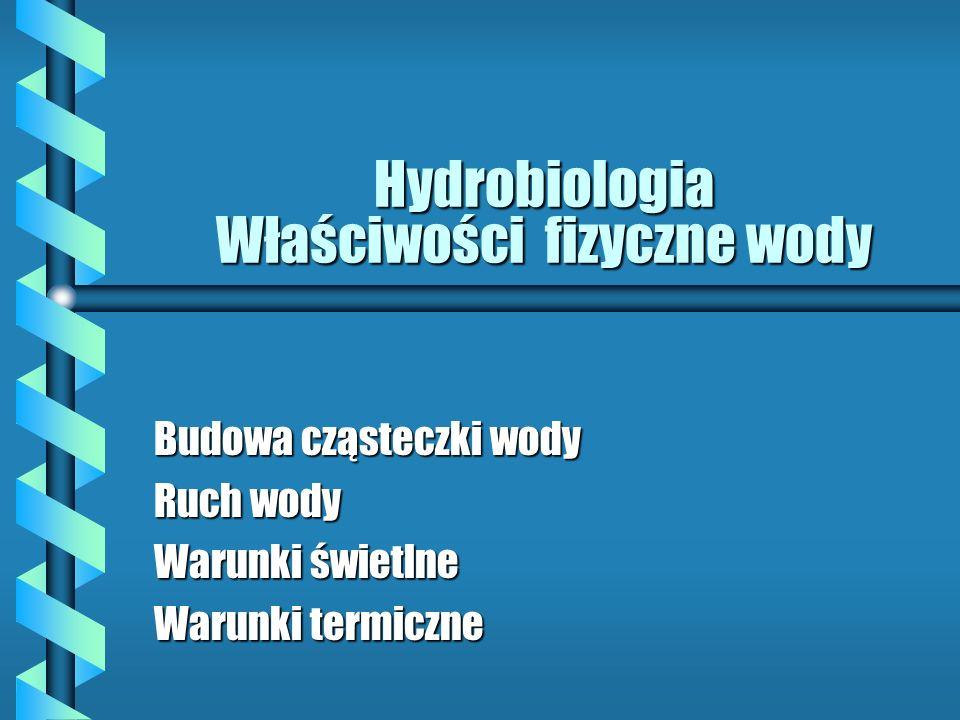 Hydrobiologia Właściwości fizyczne wody Budowa cząsteczki wody Ruch wody Warunki świetlne Warunki termiczne