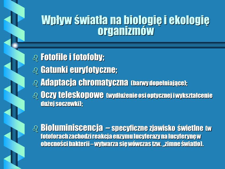 Wpływ światła na ograniczenie produkcji biologicznej b Nadmiar światła: b Ultrafiolet i podczerwień – szkodliwe dla organizmów (wygaszanie na głębokości 1m, duża ilość zawiesiny – do 10 cm) b Fotosynteza – najkorzystniej na głębokości 0,5-2 m (w zależności od stopnia przezroczystości wody) b Wapń – czynnik uodporniający zwierzęta na w/w promienie (w wodach ubogich w wapń plankton jest słabiej rozwinięty) b Niedomiar światła: b Zawiesina ogranicza dostęp światła b Zakwity glonów, szczególnie sinic osłabiają penetrację światła w głab b Rośliny naczyniowe (grążele, rzęsy) mogą całkowicie odciąć dopływ światła do zbiornika wodnego