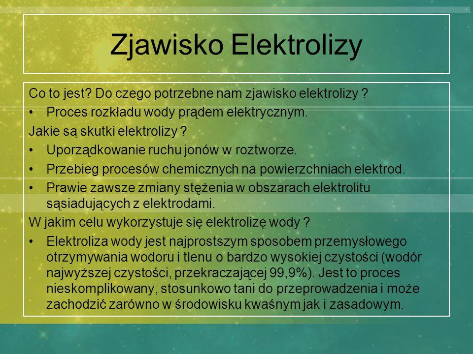 Zjawisko Elektrolizy Co to jest? Do czego potrzebne nam zjawisko elektrolizy ? Proces rozkładu wody prądem elektrycznym. Jakie są skutki elektrolizy ?