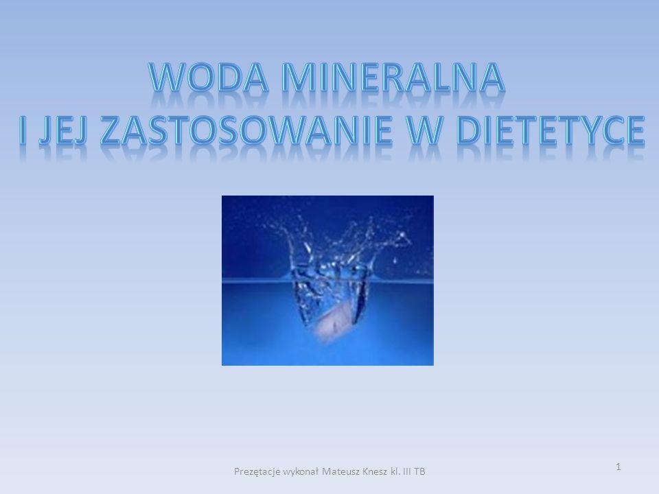 2 Wody mineralne oraz lecznicze Geneza powstania wód mineralnych Mineralna kranówka, mineralna deszczówka Wody Smakowe Ranking wód smakowych Znaczenie Wody dla organizmu człowieka Kiedy i jak pić Bibliografia Zakończenie