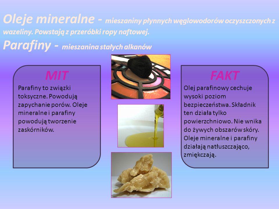 Oleje mineralne - mieszaniny płynnych węglowodorów oczyszczonych z wazeliny.