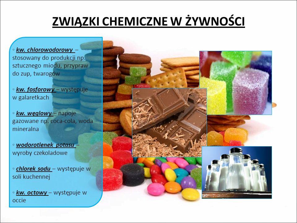 ZWIĄZKI CHEMICZNE W ŻYWNOŚCI kw.chlorowodorowy – stosowany do produkcji np.