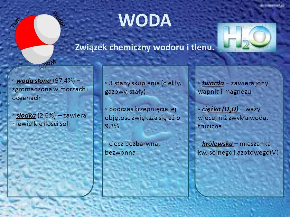 WODA Związek chemiczny wodoru i tlenu.