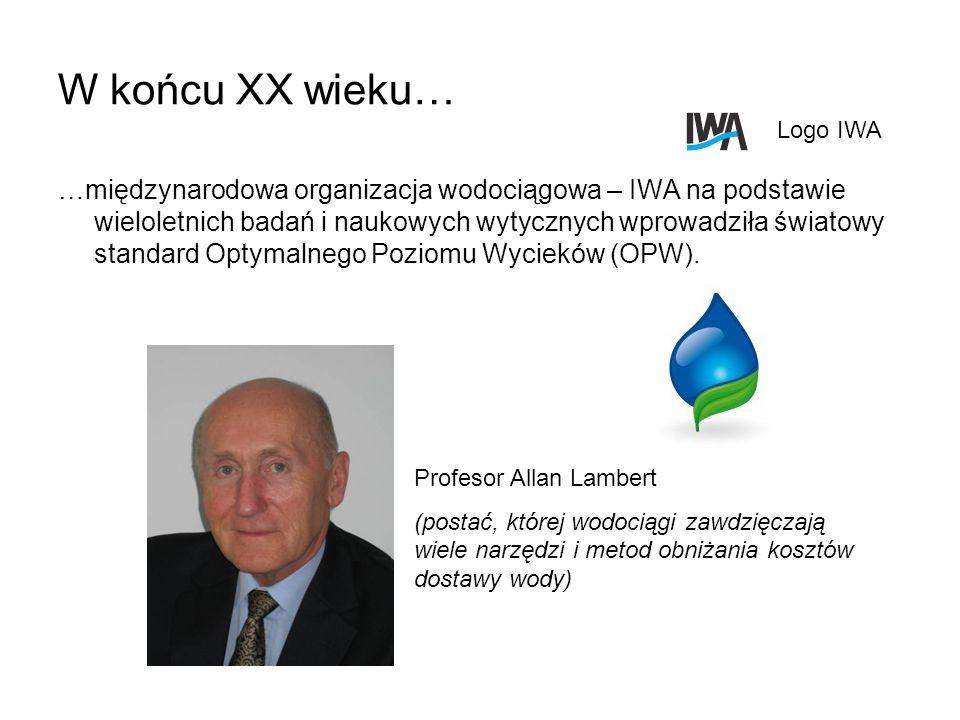 W końcu XX wieku… …międzynarodowa organizacja wodociągowa – IWA na podstawie wieloletnich badań i naukowych wytycznych wprowadziła światowy standard O