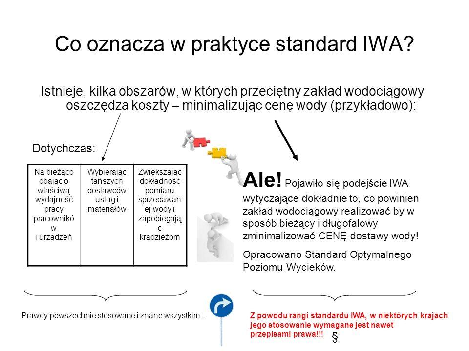 Co oznacza w praktyce standard IWA? Istnieje, kilka obszarów, w których przeciętny zakład wodociągowy oszczędza koszty – minimalizując cenę wody (przy