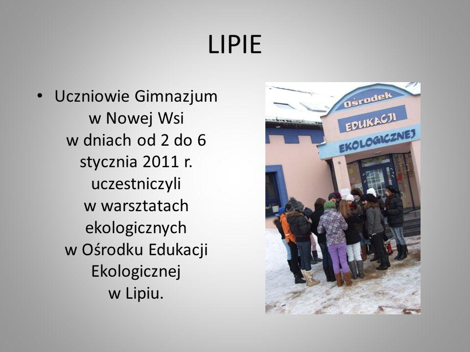 LIPIE Uczniowie Gimnazjum w Nowej Wsi w dniach od 2 do 6 stycznia 2011 r. uczestniczyli w warsztatach ekologicznych w Ośrodku Edukacji Ekologicznej w