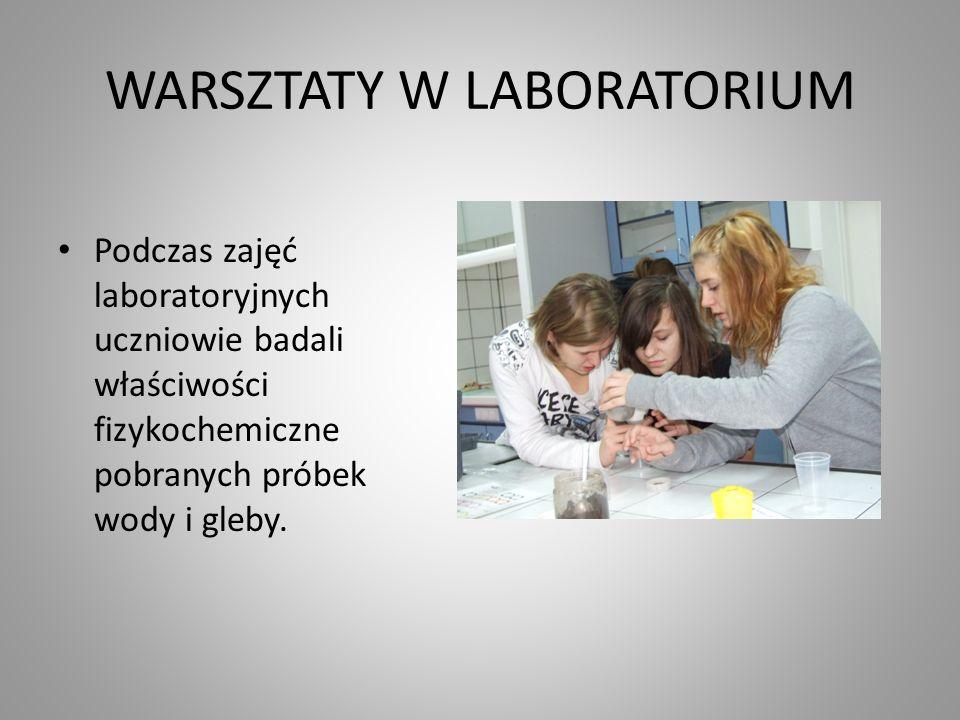 WARSZTATY W LABORATORIUM Podczas zajęć laboratoryjnych uczniowie badali właściwości fizykochemiczne pobranych próbek wody i gleby.