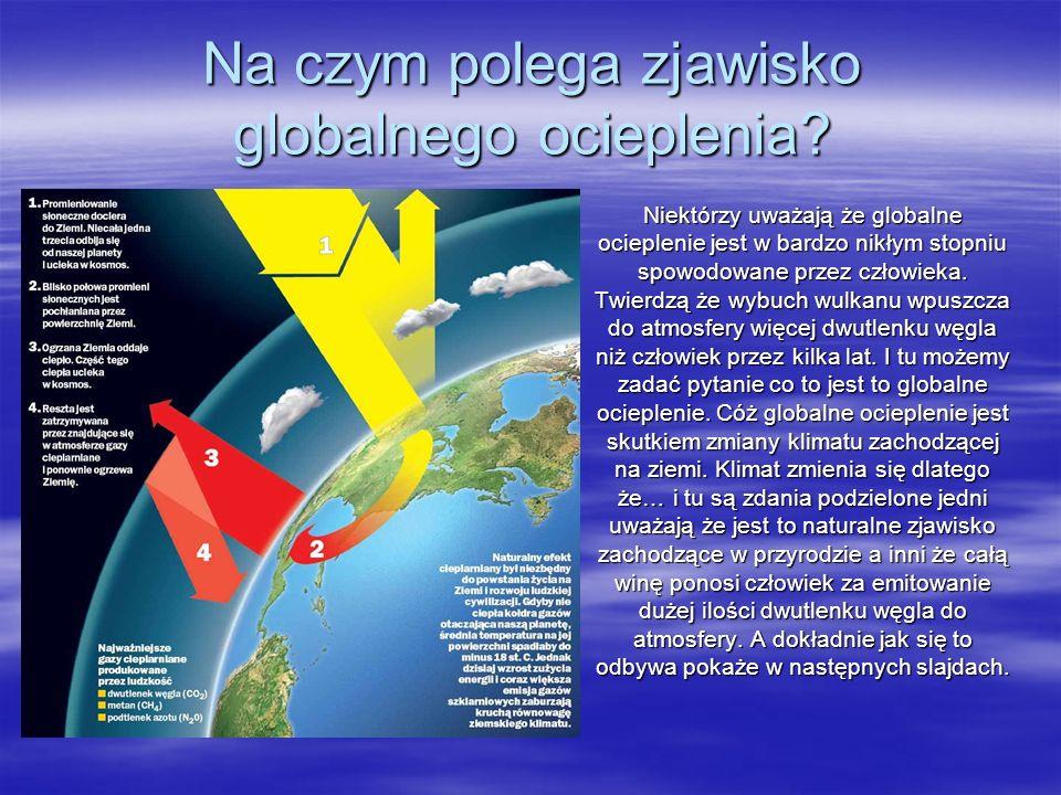 Na czym polega zjawisko globalnego ocieplenia? Niektórzy uważają że globalne ocieplenie jest w bardzo nikłym stopniu spowodowane przez człowieka. Twie