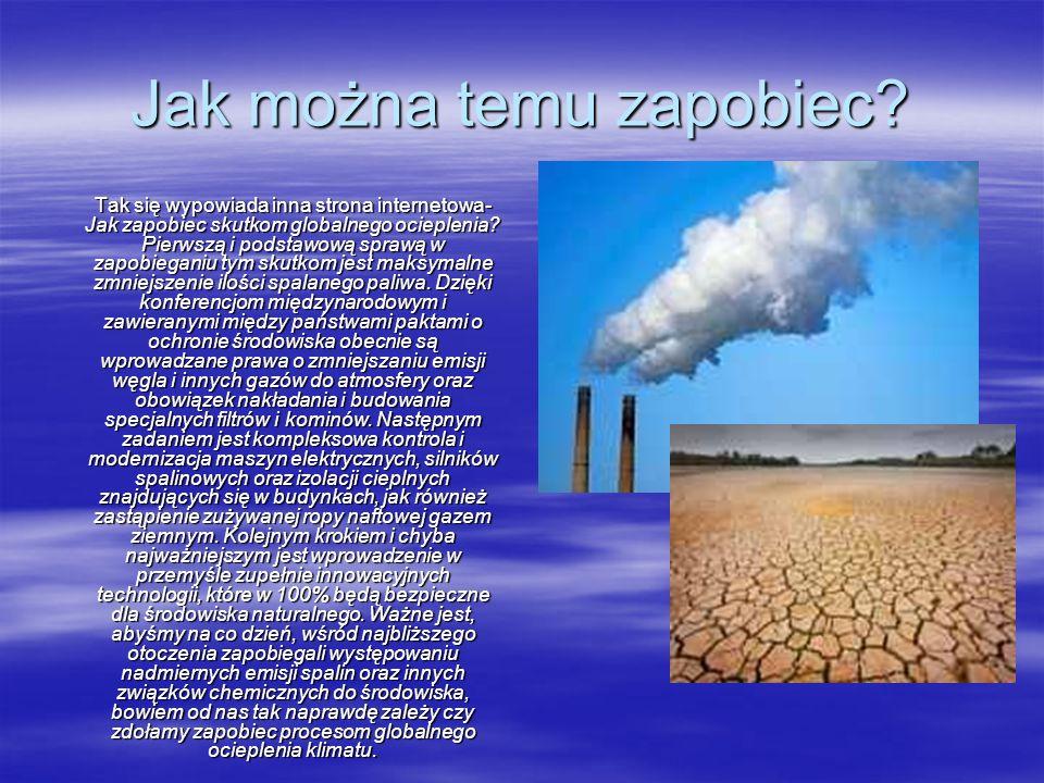 Jak można temu zapobiec? Tak się wypowiada inna strona internetowa- Jak zapobiec skutkom globalnego ocieplenia? Pierwszą i podstawową sprawą w zapobie