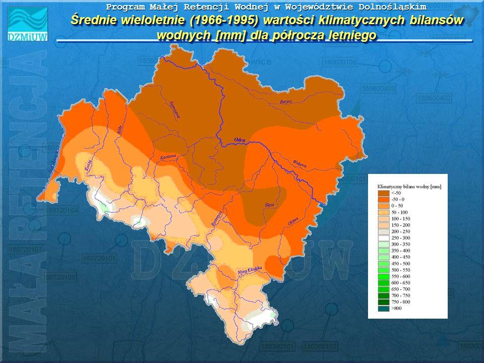 Program Małej Retencji Wodnej w Województwie Dolnośląskim Średnie wieloletnie (1966-1995) wartości klimatycznych bilansów wodnych [mm] dla półrocza le