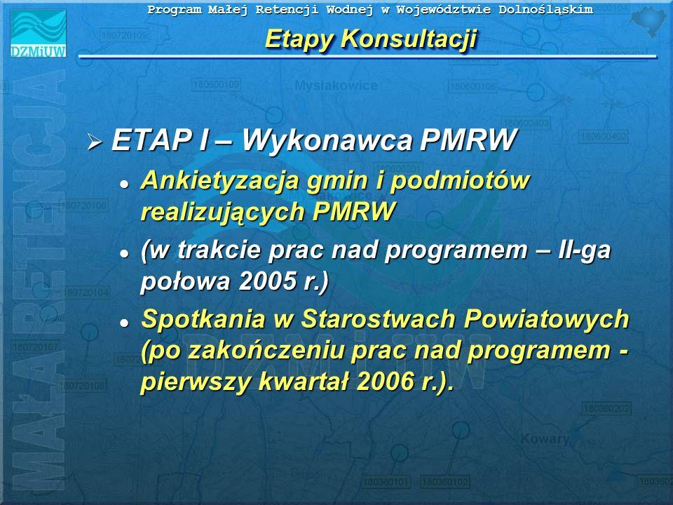 Program Małej Retencji Wodnej w Województwie Dolnośląskim Etapy Konsultacji ETAP I – Wykonawca PMRW ETAP I – Wykonawca PMRW Ankietyzacja gmin i podmio