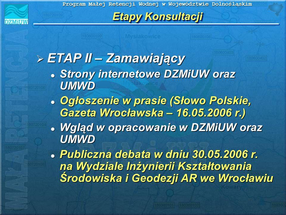 Program Małej Retencji Wodnej w Województwie Dolnośląskim Etapy Konsultacji ETAP II – Zamawiający ETAP II – Zamawiający Strony internetowe DZMiUW oraz