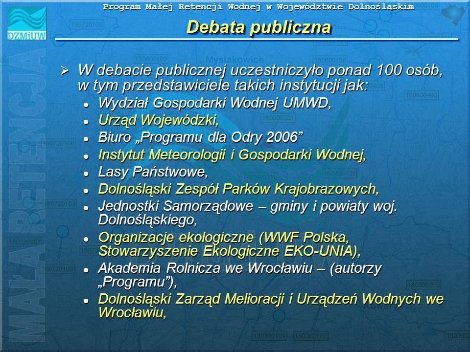 Debata publiczna W debacie publicznej uczestniczyło ponad 100 osób, w tym przedstawiciele takich instytucji jak: W debacie publicznej uczestniczyło po