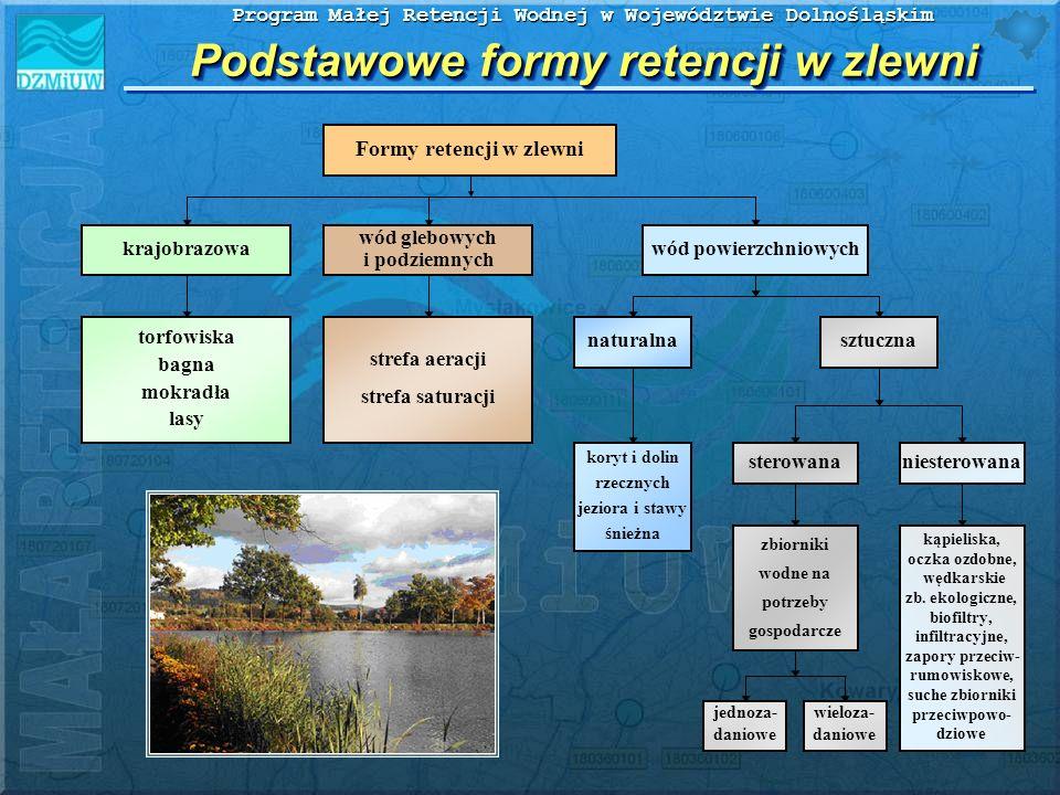 Program Małej Retencji Wodnej w Województwie Dolnośląskim Podstawowe formy retencji w zlewni Formy retencji w zlewni naturalnasztuczna zbiorniki wodne